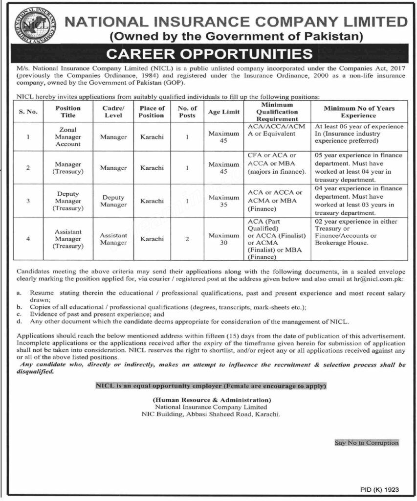 New Jobs in Pakistan - National Insurance Company Limited ...